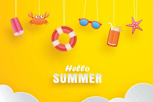 Hello summer with decoration origami hanging on yellow backgroun