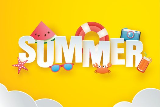 Hello summer with decoration origami on the sky yellow backgroun