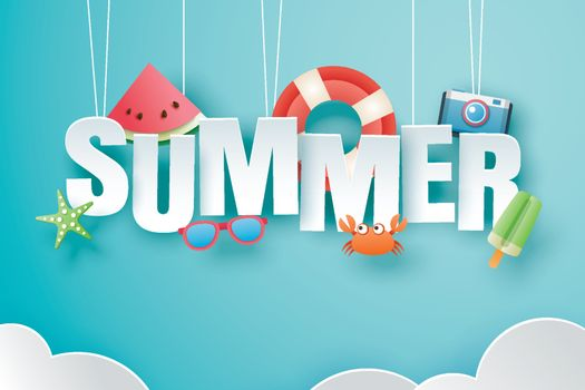 Hello summer with decoration origami hanging on blue sky backgro