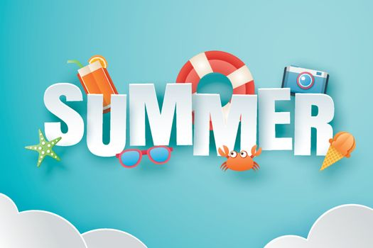 Hello summer with decoration origami on blue sky background. Pap