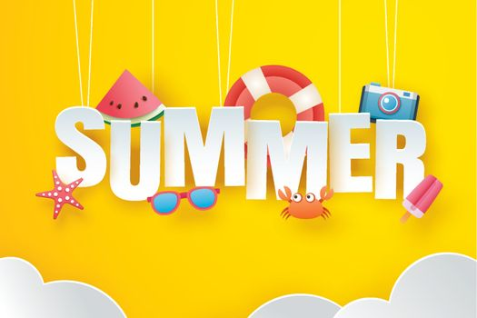 Hello summer with decoration origami hanging on yellow sky backg