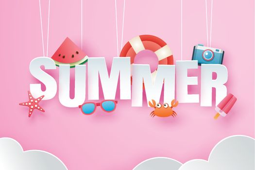 Hello summer with decoration origami hanging on pink sky backgro