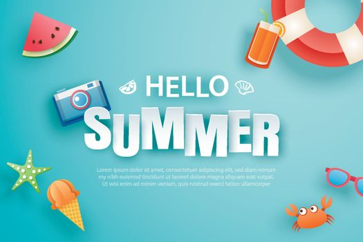 Hello summer with decoration origami on blue background. Paper a
