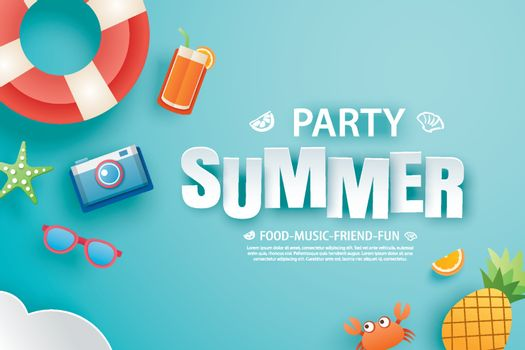 Summer party invitation banner with decoration origami. Paper ar