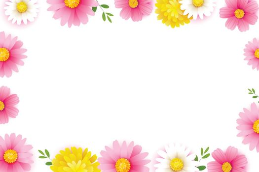 Hello spring season frame with blooming flowers background template. Design for banner, flyers, posters, brochure, invitation.