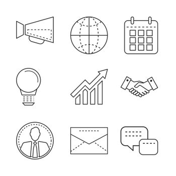 Business icons set with thin line elements for mobile, web apps,
