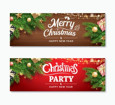 Christmas party and greeting card with holiday decoration backgr