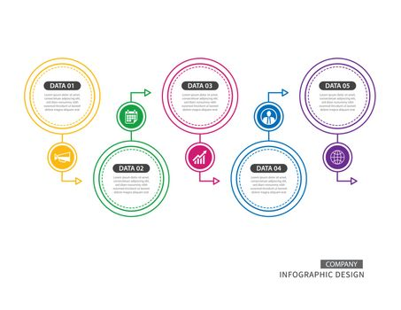 5 circle thin line infographic for business timeline presentatio