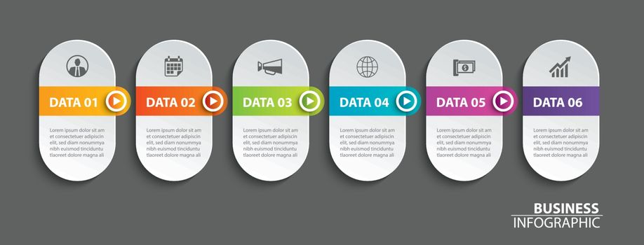 Oval infographics timeline paper with 6 data horizontal template