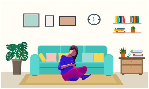 a girl is playing games at home