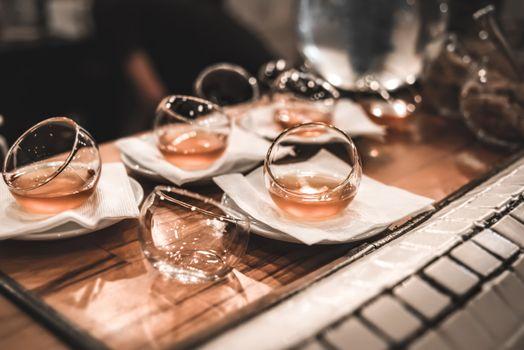 Tea in Glass saucers from the restaurant, flashlight, restaurant