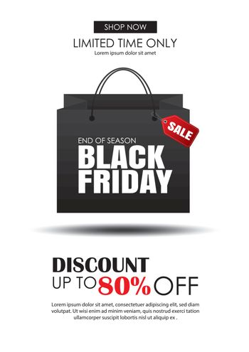 Black friday sale flyer template. White background with shopping bag. Use for poster, newsletter, shopping, promotion, advertising.