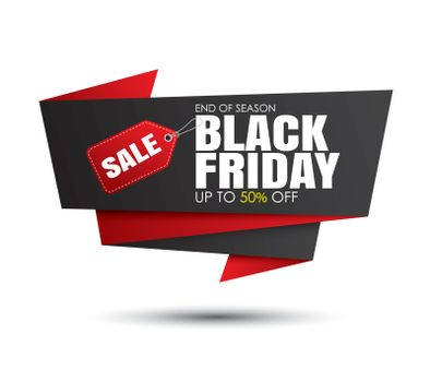 Black friday sale black and red banner template isolated on white background. Use for poster, shopping, promotion, advertising.