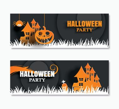 Halloween party invitations banner and greeting cards. Paper art