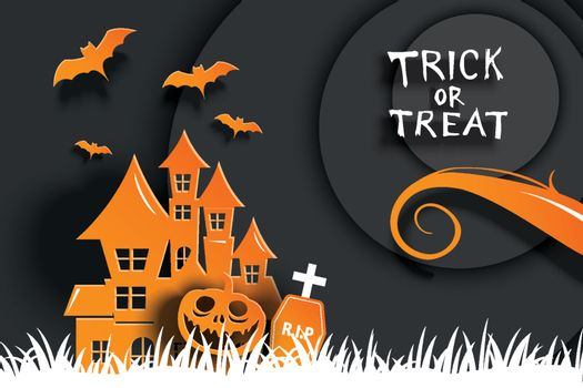 Halloween party invitations and greeting cards. Paper art backgr