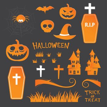 Halloween icon symbol object collection set.