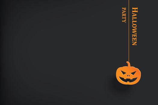Halloween party invitation with pumpkin hanging in dark backgrou