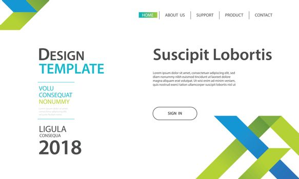 Website template design and landing page geometric shapes backgr