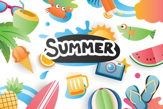 Summer cute symbol icon elements for beach party on white backgr