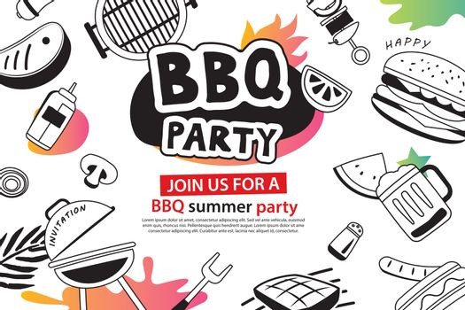 Summer BBQ party in doodles symbol and objects icon for backgrou