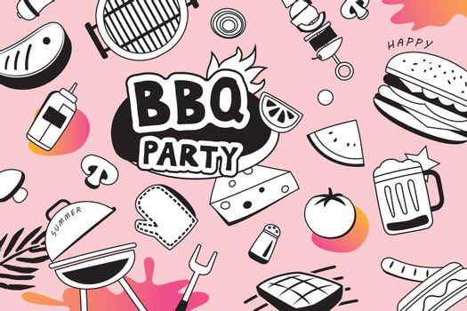 Summer BBQ doodles symbol and objects icon for party background.