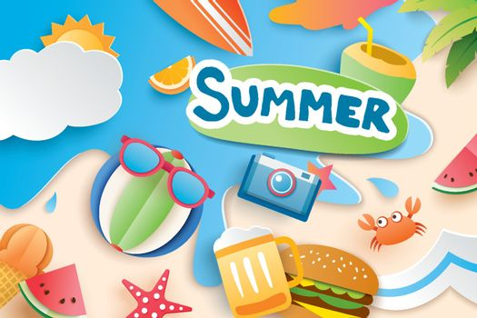 Hello summer with paper cut symbol icon for vacation beach backg