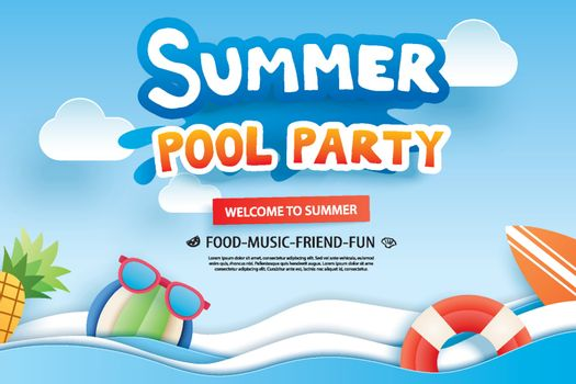 Summer pool party with paper cut symbol and icon for invitation