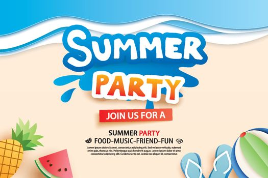Summer beach party with paper cut symbol and icon for invitation