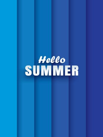 Hello summer white text on abstract blue wave background.