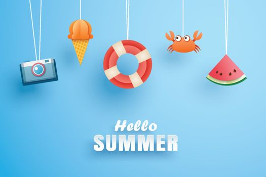 Hello summer with decoration origami hanging on the sky backgrou