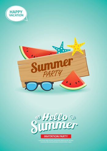 Hello summer card banner with wooden background. Use for poster,