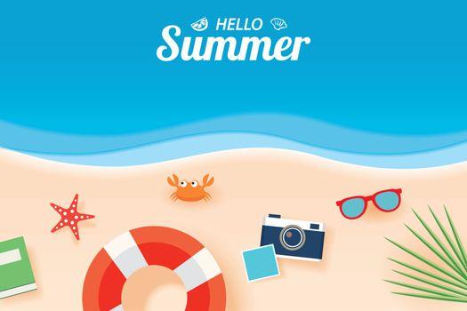 Hello summer card banner with vacation beach paper art backgroun