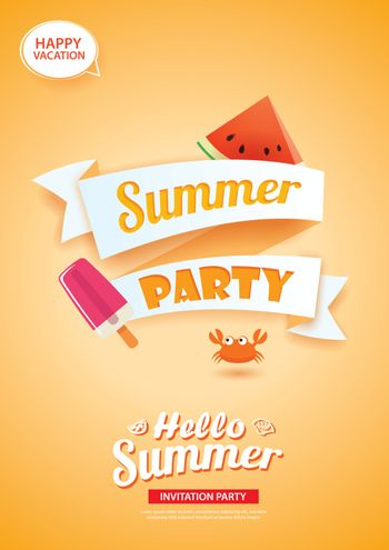 Hello summer party card banner with orange background. Use for p