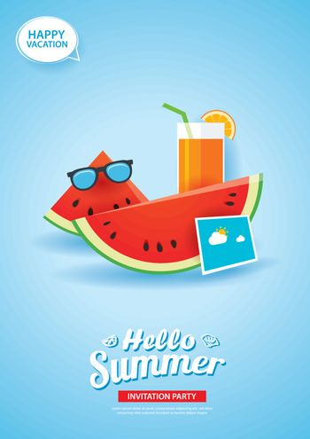 Hello summer card banner with watermelon and orange juice paper