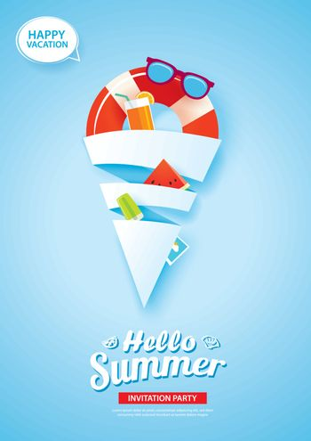 Hello summer card banner with ice cream cone shape paper art on
