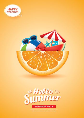 Hello summer card banner with orange background. Use for poster,