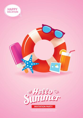 Hello summer card banner with life ring background. Use for post
