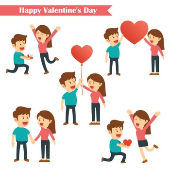 Set of characters couples happy valentines day isolated on white background.
