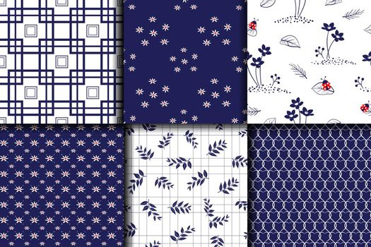 Monotone blue set collection seamless pattern for decorative,fabric,textile,print or wallpaper,vector illustration