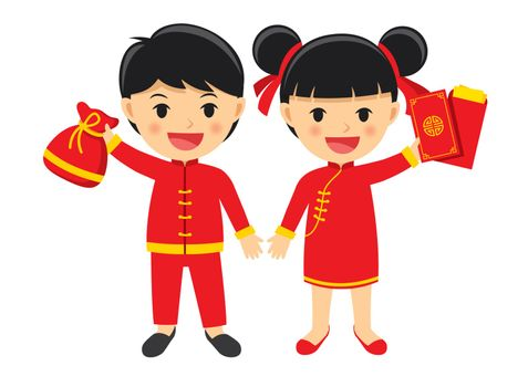 Happy boy and girl in traditional clothes celebrate get chinese