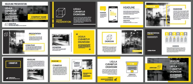 Yellow element for slide infographic on background. Presentation