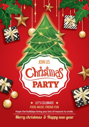 Merry christmas party and tree on red background invitation them