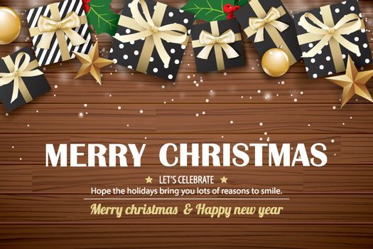Merry christmas poster background design template. Typography an