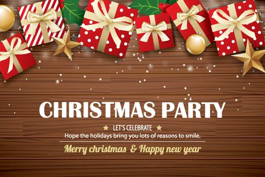 Christmas party poster background design template. Typography an