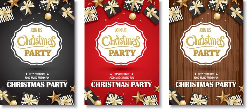 Merry christmas party and gift box on background invitation them
