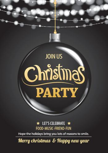 Merry christmas party ball and light on dark background invitati