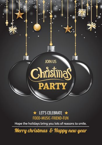 Merry christmas party and ball on dark background invitation the