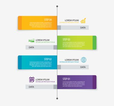 4 rectangle tab timeline infographic options template with paper