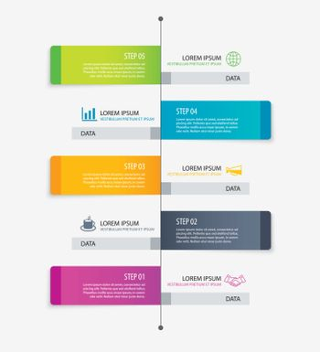 5 rectangle tab timeline infographic options template with paper