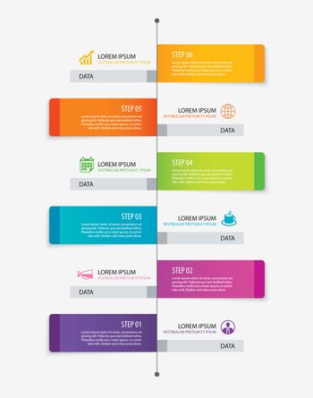 6 rectangle tab timeline infographic options template with paper